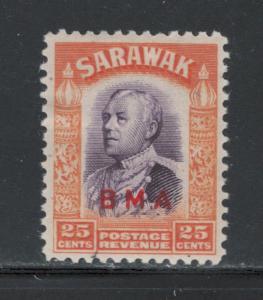 Sarawak 1945 Sir Charles Vyner Brooke Overprint 25c Scott # 146 MH