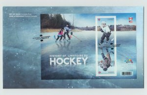 CANADA-USA Joint Issue = HOCKEY HISTORY = souvenir sheet OFDC, FDC