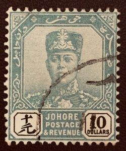 Malaya Johor 1904-10 Sultan Sir Ibrahim $10 Used Wmk W27 SG#75 M2310