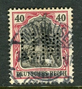 GERMANY; Early 1900s Germania issue fine used value + PERFIN , 40pf.