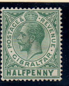 Gibraltar Sc 66 1912 1/2d green George V stamp mint
