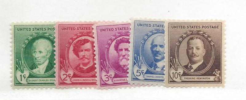 United States, 884-88, Famous Americans-Artists Singles, MNH