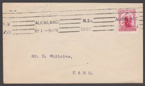 NEW ZEALAND 1908 1d Universal on cover Auckland to Kamo.....................A781