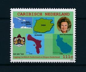[CA001] Caribisch Nederland 2010 Maps, Flag, Islands, coat of arms  MNH