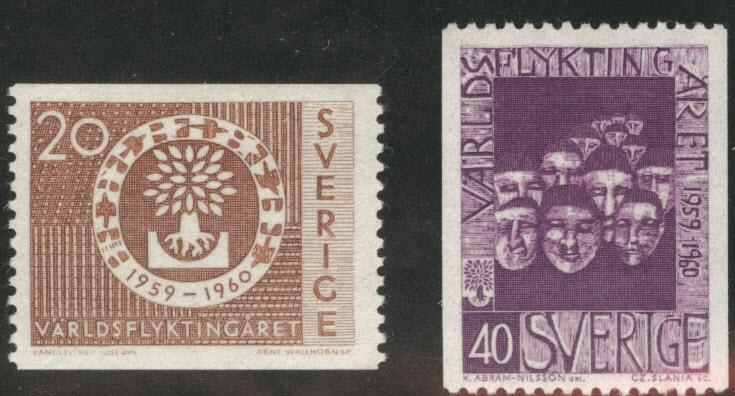 SWEDEN Scott 553-554 MH* 1960 WRY coil stamps