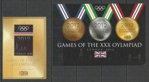 I0957 IMPERF 2012 TUVALU OLYMPIC GAMES LONDON 2012 1KB+1BL MNH