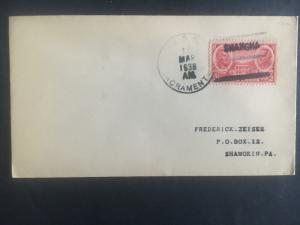 1938 US Navy Post Office Shanghai China Cover to USA USS Sacramento