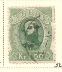 Norway Sc 32 1878 1 kr Oscar II stamp used