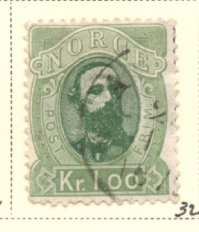 Norway Sc 32 1878 1 kr Oscar II stamp used
