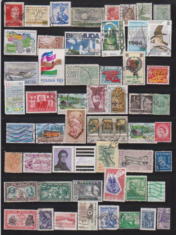 LOT OF DIFFERENT STAMPS OF THE WORLD USED (53) LOT#145
