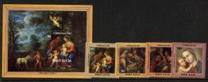 St Lucia 897-901 MNH Christmas, Art, Madonna & Child