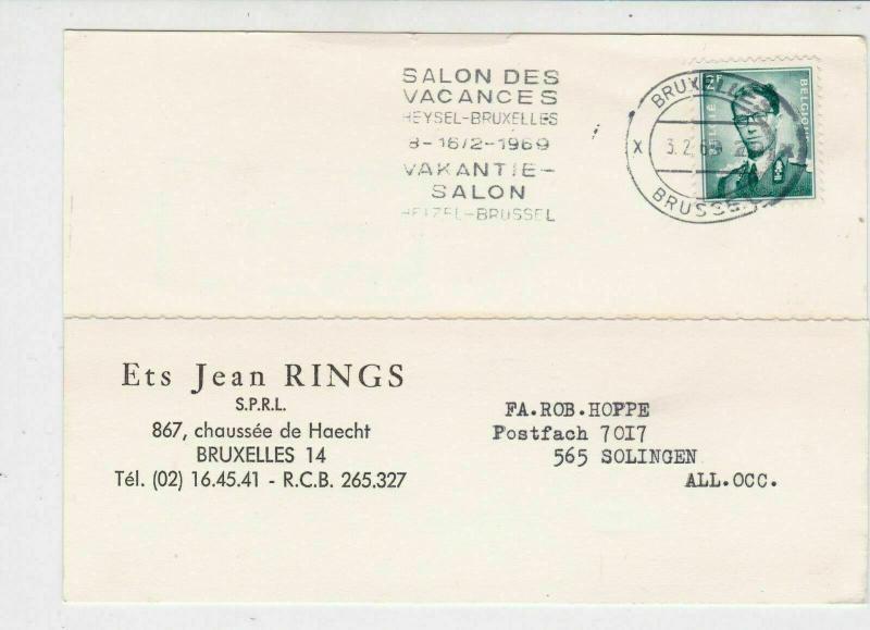 Belgium 1969 Salon des Vacancies Slogan Commercial Order Stamps Card Ref 25468