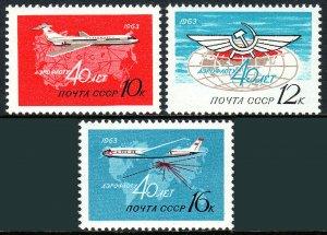 Russia C101-C103, MNH. Aeroflot, 40th anniv. Jet, Maps, Emblem, 1963