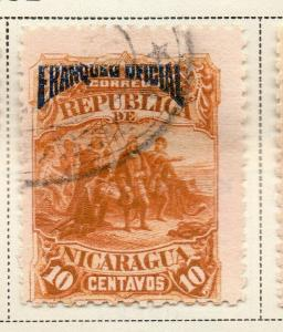 Nicaragua 1892 Early Issue Fine Used 10c. Official Optd 323709