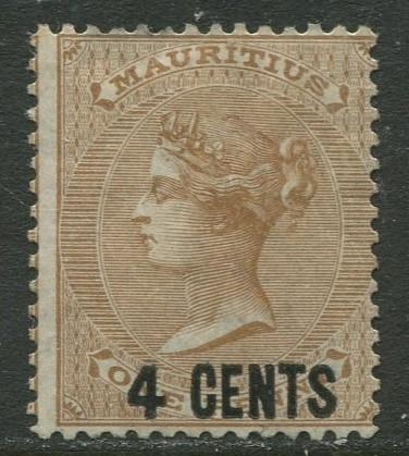 Mauritius - Scott 51 - QV Overprint-1878 - MH - Single 4c on a 1c Stamp