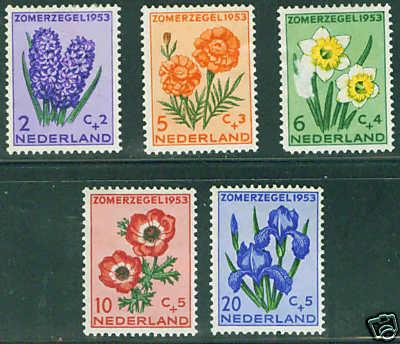 Netherlands Scott B249-53 complete MH* 1953 set CV$25