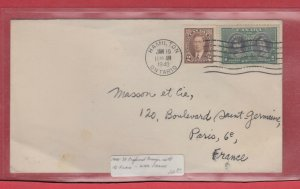 3c Preferred Surface rate to FRANCE 1940 CANADA cover