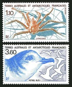 FSAT 143-144,MNH.Michel 247,249. Lithodes,Blue Petrel,1989.