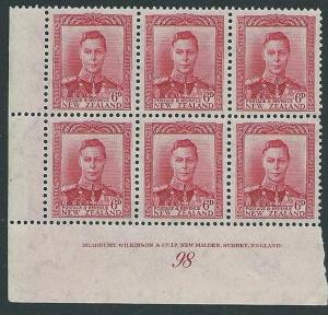 NEW ZEALAND GVI 6d plate 98 imprint block MNH..............................41967