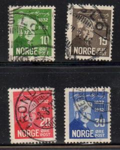 Norway Sc 154-7 1932 Bjornson stamp set used