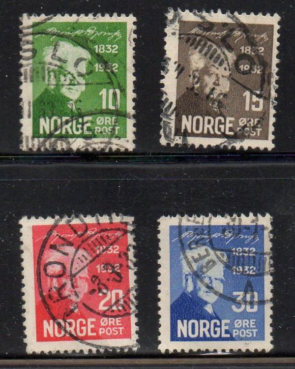 Norway Sc 154-7 1932 Bjornson stamp set used