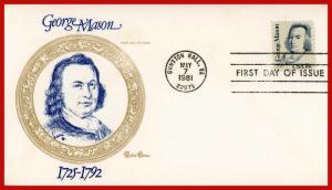 US FDC #1858 18c George Mason - Tudor House Cachet (2119)
