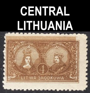 Central Lithuania Scott 38 UNLISTED perf 11 3/4. BUFF SHIFT ERROR F+ mint H.