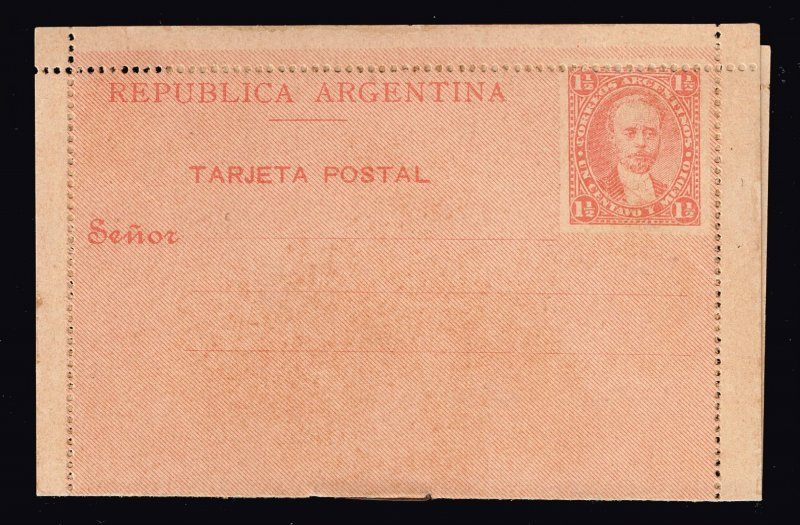 Argentina Stamp 1 1/2C STAMPED FOLDED CARD UNUSED