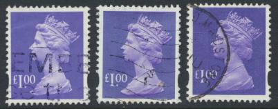 Great Britain SG Y1743  SC# MH279 Machin £1 Used x3  Bluish Violet see phosp...