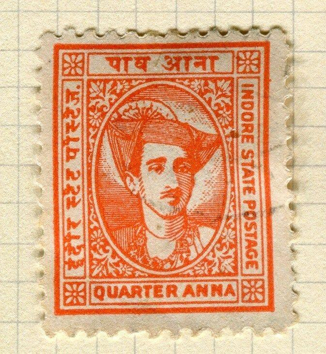 INDIA;   INDORE 1940 early Holkar II issue fine used 1/4a. value
