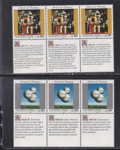 United Nations - Geneva # 234-235, Human Rights, With Labels, Mint NH 1/2 Cat.