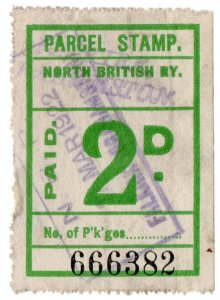 (I.B) North British Railway : Parcel Stamp 2d (Falkirk)