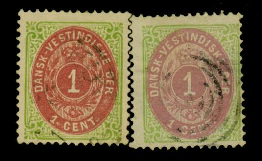 Danish W Indies #5B 5C Used F-VF Sm thin Cat$95