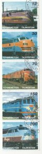 Tajikistan; 1998 Locomotives Set Of 5 In Strip, 5 Vals, 12 To 200, CTO, Trains