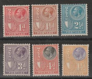 MALTA 1926 KGV SHIELD RANGE TO 41/2D INSCRIBED POSTAGE