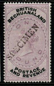 BECHUANALAND SG20s 1888 £1 LILAC & BLACK SPECIMEN MTD MINT