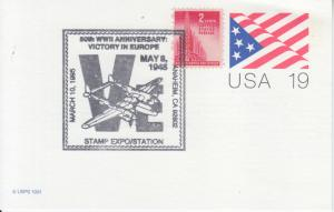 1995 WWII  VE Day 50th Anniversary Flag PC Anaheim CA Pictorial