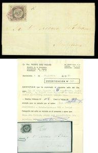 URUGUAY 1859 SUN  60c lilac  Scott # 7 used XF cover PAYSANDU to Montvideo