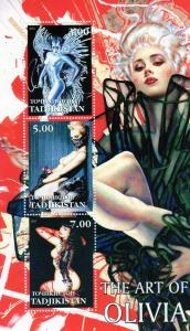 Tajikistan 2001 The art of Olivia NUDES s/s Perforated Mint (NH)