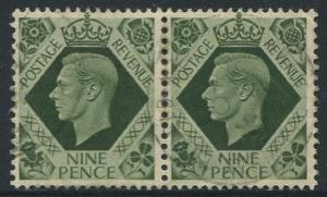 Great Britain - Scott 246 -KGVI Definitive -1937 -FU -Horiz.Pair of 9p Stamp