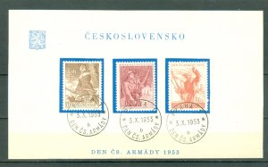 CZECHOSLOVAKIA  1953 #614-616...SET on DAY of ISSUE SHEET..MINT VERY LIGHT H.