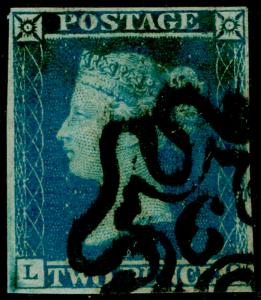 SG14, 2d blue, FINE USED. Cat £85. BLACK MX WITH 6.