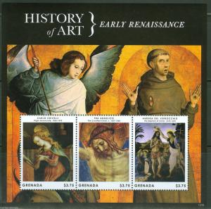 GRENADA 2013 EARLY RENAISSANCE CRIVELLI VERROCCHIO & ANGELICO  SHEET  MINT NH