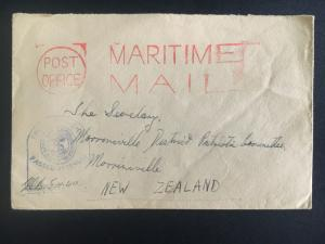 WW 2 England Maritime Mail Royal Navy Censored Cover to New Zealand