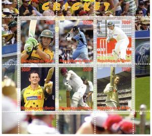 Benin 2007 Cricket Famous Players Sheetlet (6) Perforated MNH