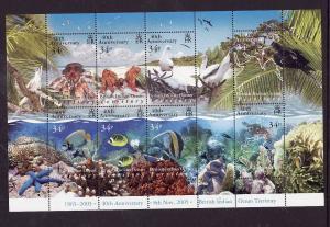 BIOT-Sc#316-unused NH sheet-Marine Life-Birds-Fish-2005-