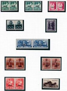 SOUTH WEST AFRICA  1941 - 42    S G 114 - 122   WAR EFFORT  SET OF 10  CAT £70