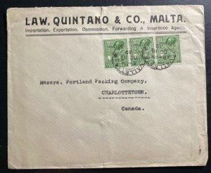 1930 Valletta Malta Commercial Cover To Charlottetown Canada