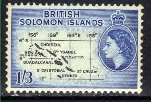 British Solomon Islands 1956 - 63 QE2 1/-3d Black & Blue Map Umm SG 91b ( H14...