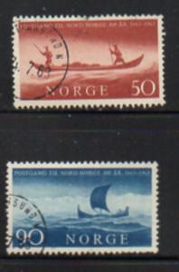 Norway Sc  437-8 1963 300 yrs Postal Service stamp set used